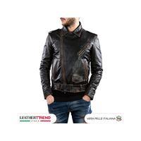 Leather Trend Italy chiodo uomo - giacca in vera pelle colore nero asportato