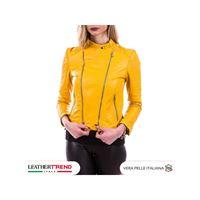 Leather Trend Italy chiodo roma - giacca donna in vera pelle colore giallo morbida