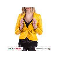 Leather Trend Italy classic 712 - giacca donna in vera pelle colore giallo morbida