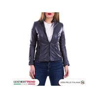 Leather Trend Italy violetta bis - giacca donna in vera pelle colore blu invecchiato