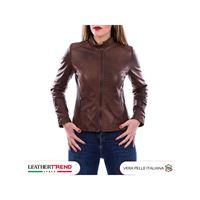 Leather Trend Italy violetta bis - giacca donna in vera pelle colore marrone invecchiato
