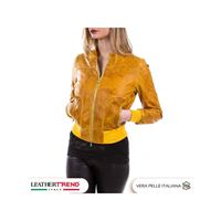 Leather Trend Italy timberly - bomber donna in vera pelle colore senape oil vintage