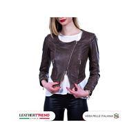 Leather Trend Italy elena - giacca donna in vera pelle colore testa di moro invecchiato