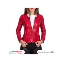 Leather Trend Italy viola - giacca donna in vera pelle colore rosso morbida
