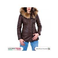 Leather Trend Italy ivette - parka donna in vera pelle di agnello testa di moro tamponato