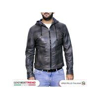 Leather Trend Italy terminator - giacca uomo con cappuccio in vera pelle colore grigio