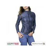 Leather Trend Italy michelina - giacca donna in vera pelle colore blu invecchiato