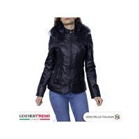 Leather Trend Italy t100 - giacca donna con cappuccio in vera pelle colore nero morbida