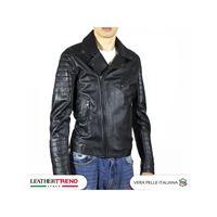 Leather Trend Italy v248 - chiodo uomo in vera pelle colore nero morbido