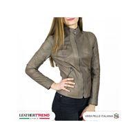 Leather Trend Italy zara - giacca donna in vera pelle colore fango invecchiato