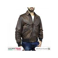 Leather Trend Italy schott - giacca uomo in vera pelle colore testa di moro invecchiato