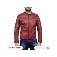 Leather Trend Italy u05 - giacca uomo in vera pelle colore bordeaux invecchiato