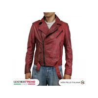 Leather Trend Italy chiodo uomo - giacca in vera pelle colore bordeaux invecchiato