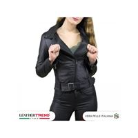 Leather Trend Italy chiodo donna - giacca in vera pelle con cintura colore nero morbida