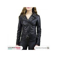 Chiodo donna - giacca borchiata in vera pelle colore nero morbida