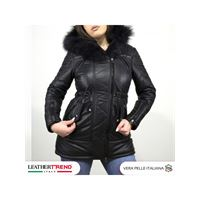 Leather Trend Italy nebraska - parka donna in vera pelle colore nero morbida