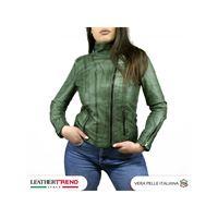 Leather Trend Italy alba - giacca donna in vera pelle colore verde tamponato