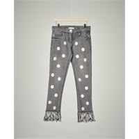 Elsy jeans grigio frange e bolli 34-38