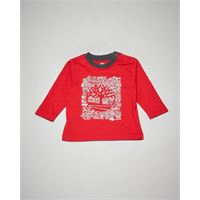 Timberland t-shirt rossa a manica lunga con stampa 3-18 mesi