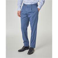 Ashki.i pantalone blu indaco con una pinces