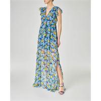 Pinko abito lungo in georgette di viscosa a fantasia floreale azzurra con scollo a v