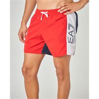 EA7 costume boxer rosso e blu con banda bianca e logo