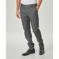 Ashki.i pantalone chino grigio micro-armatura