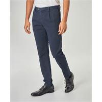 Ashki.i pantalone chino blu micro-fantasia con una pinces