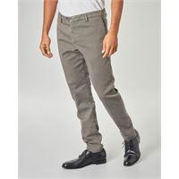 Ashki.i pantalone chino color tortora in drill di cotone