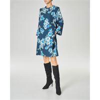Marella abito corto color ottanio a fantasia floreale con maniche tre quarti con volant