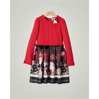 Monnalisa abito rosso in viscosa stretch con gonna in fantasia tartan 4-12 anni