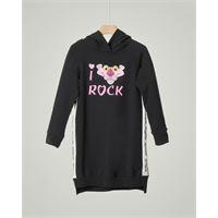 Monnalisa abito in felpa nera con cappuccio e stampa pink panther 8-12 anni