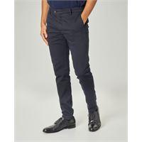 Ashki.i pantalone chino blu in drill di cotone