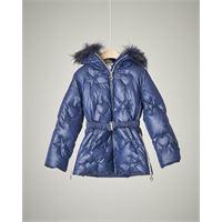 Elsy piumino lungo blu con cintura e pelliccia 4-7 anni