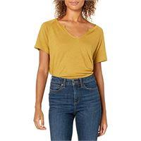 Goodthreads lino modal jersey manica corta maglia slit-neck camicia, rosato scuro, s