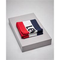 Levi's sciarpa tricolore blu bianca e rossa con logo