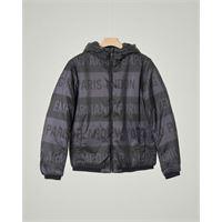 Emporio Armani Junior giacca nera in nylon con stampa logo all-over reversibile in tinta unita 10-16 anni