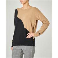 Marella maglia girocollo in lana misto cashmere bicolore nero e cammello