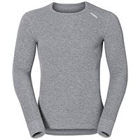 Odlo bl top crew neck l/s active warm-grey melange, intimo-uomo, xl