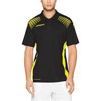 uhlsport uomo goal polo shirt, uomo, goal polo shirt, nero/giallo limone, 164