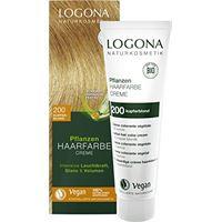 LOGONA Naturkosmetik logona - tinta per capelli naturale per piante in crema 200 biondo ramato, biondo naturale, con henné, colorante permanente, 150 ml