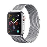 Apple watch series 4 (gps + cellulare) cassa 44 mm in acciaio inossidabile e loop in maglia milanese