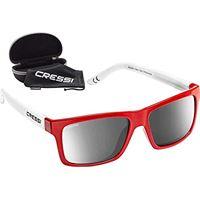 Cressi bahia floating, occhiali galleggianti sportivi da sole polarizzati con protezione uv 100% unisex adulto, rosso bianco/lente specchiate
