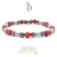 Braccialetto pietra naturale ematite e turchese rosso | chet