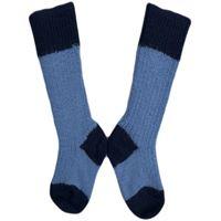 Hirsch Natur calzino corto in lana azzurro / blu scuro