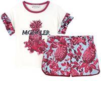 Moncler t-shirt illustrata e shorts con stampa