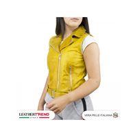 Leather Trend Italy gilet chiodo - giacca donna in vera pelle con cintura colore giallo