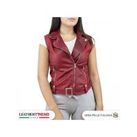 Leather Trend Italy gilet chiodo - giacca donna in vera pelle con cintura colore rosso
