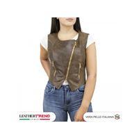 Leather Trend Italy gilet elena - giacca donna in vera pelle traforata color marrone
