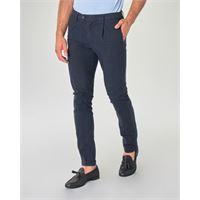 Ashki.i pantalone chino blu scuro principe di galles in cotone stretch con una pinces